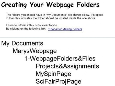 "My Documents MarysWebpage 1-WebpageFolders&Files Projects&Assignments MySpinPage SciFairProjPage The folders you should have in ""My Documents"" are shown."