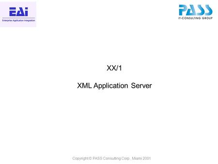 Copyright © PASS Consulting Corp., Miami 2001 XX/1 XML Application Server.