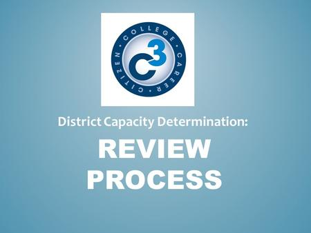 REVIEW PROCESS District Capacity Determination:. Review Team Selection Teams will contain geographically balanced representation. Each review team will.