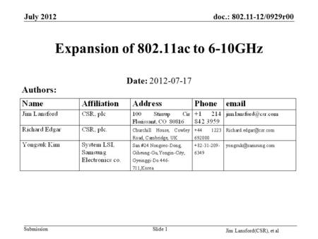 Submission doc.: 802.11-12/0929r00 Jim Lansford(CSR), et al Slide 1 Expansion of 802.11ac to 6-10GHz Date: 2012-07-17 Authors: July 2012.