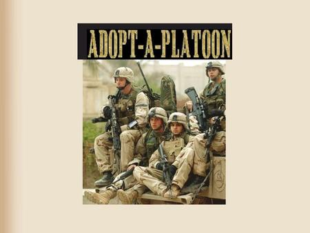 What is Adopt-A-Platoon? grass roots all volunteer just sharing information a way to support soldiers in iraq.
