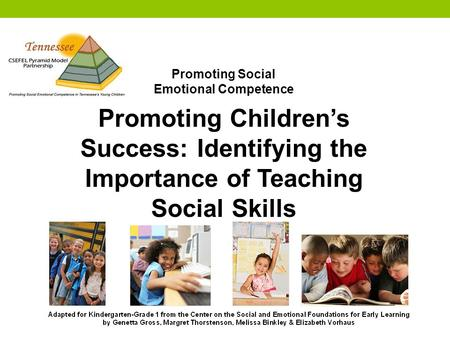 Promoting Social Emotional Competence Promoting Children's Success: Identifying the Importance of Teaching Social Skills.
