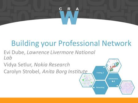 Building your Professional Network Evi Dube, Lawrence Livermore National Lab Vidya Setlur, Nokia Research Carolyn Strobel, Anita Borg Institute Networking.