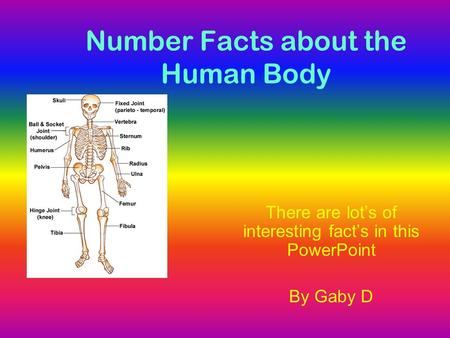 Number Facts about the Human Body There are lot's of interesting fact's in this PowerPoint By Gaby D.