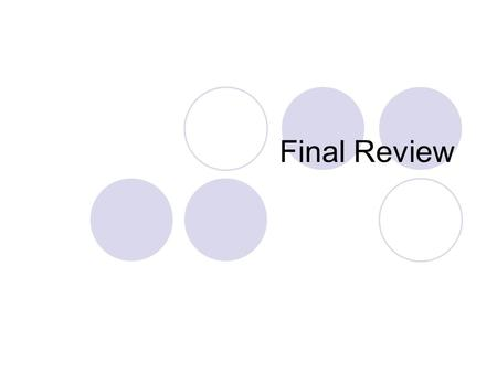 Final Review. FCS 2006–2007 2 nd Semester Exam Schedule DATETIMEEXAM Tues. 5/87:15–9:00 A.M.College Math Wed. 5/9class timeCollege English 8:00 A.M.–12:00.