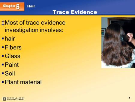 Hair 1 ‡Most of trace evidence investigation involves:  hair  Fibers  Glass  Paint  Soil  Plant material Trace Evidence.