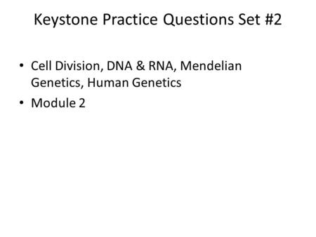 Keystone Practice Questions Set #2