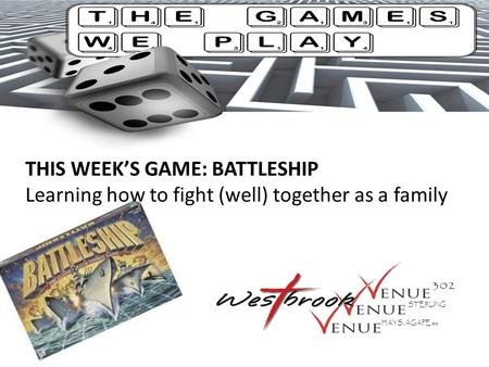 THIS WEEK'S GAME: BATTLESHIP Learning how to fight (well) together as a family STERLING HAYS, AGAPE SBC.