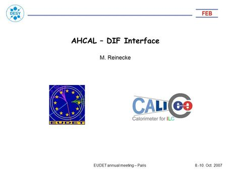 AHCAL – DIF Interface EUDET annual meeting – Paris8.-10. Oct. 2007 M. Reinecke.