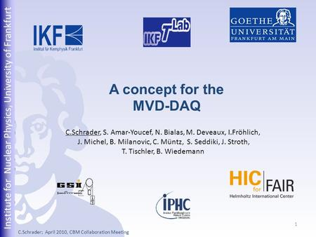 Institute for Nuclear Physics, University of Frankfurt 1 A concept for the MVD-DAQ C.Schrader, S. Amar-Youcef, N. Bialas, M. Deveaux, I.Fröhlich, J. Michel,