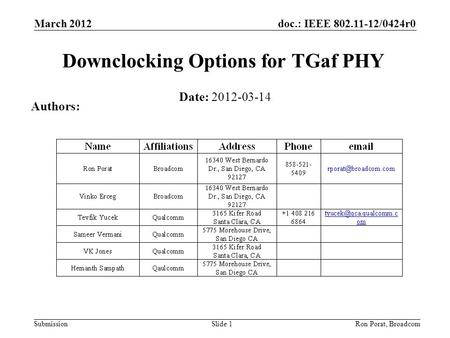 Doc.: IEEE 802.11-12/0424r0 Submission March 2012 Ron Porat, Broadcom Downclocking Options for TGaf PHY Date: 2012-03-14 Authors: Slide 1.