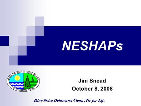 Blue Skies Delaware; Clean Air for Life NESHAPs Jim Snead October 8, 2008.