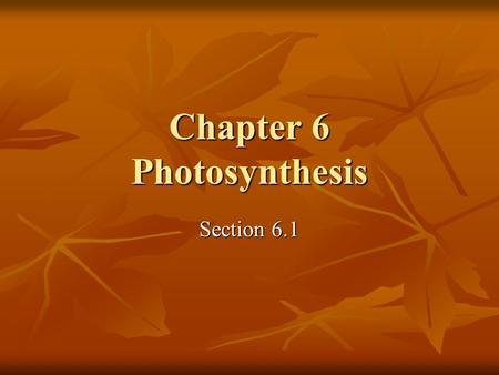 Chapter 6 Photosynthesis Section 6.1. Energy Processes for Life Autotrophs manufacture their own food from inorganic substances Autotrophs manufacture.