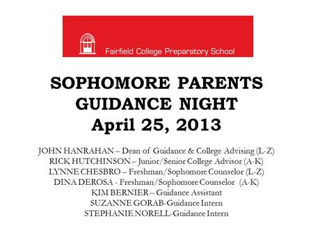 SOPHOMORE PARENTS GUIDANCE NIGHT April 25, 2013 JOHN HANRAHAN – Dean of Guidance & College Advising (L-Z) RICK HUTCHINSON – Junior/Senior College Advisor.