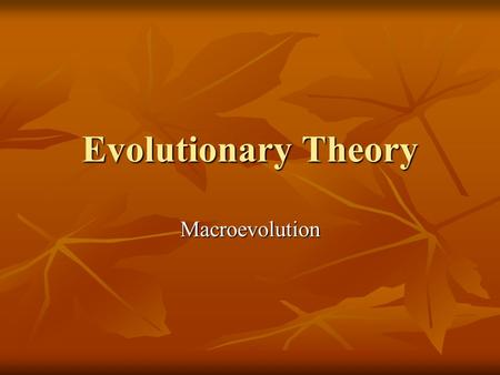 Evolutionary Theory Macroevolution. Tree of Life A phylogenetic tree of life constructed by computer analysis of cyochrome c molecules in the organisms.