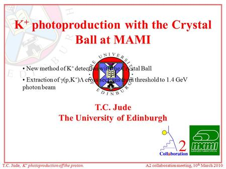 K +  photoproduction with the Crystal Ball at MAMI T.C. Jude The University of Edinburgh New method of K + detection with the Crystal Ball Extraction.