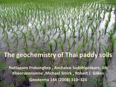 The geochemistry of Thai paddy soils