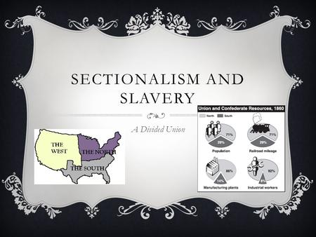 SECTIONALISM AND SLAVERY A Divided Union. SECTIONALISM  Loyalty to the individual's region rather than to the nation.