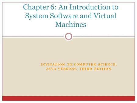 INVITATION TO COMPUTER SCIENCE, JAVA VERSION, THIRD EDITION Chapter 6: An Introduction to System Software and Virtual Machines.