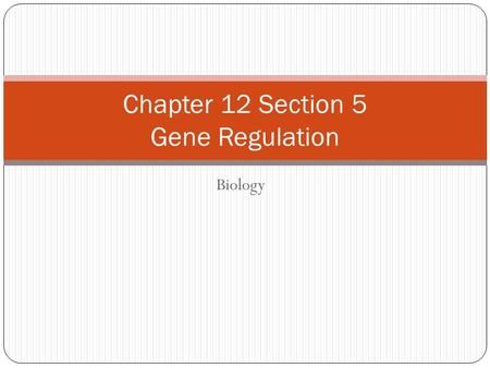 Biology Chapter 12 Section 5 Gene Regulation. Objectives ______________a typical gene _________how lac genes are turned off and on __________how most.