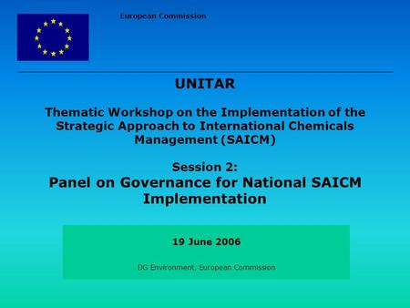 European Commission UNITAR Thematic Workshop on the Implementation of the Strategic Approach to International Chemicals Management (SAICM) Session 2: Panel.