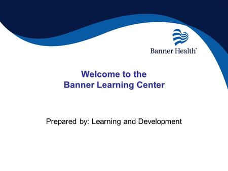 Welcome to the Banner Learning Center Prepared by: Learning and Development.