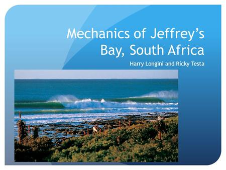Mechanics of Jeffrey's Bay, South Africa Harry Longini and Ricky Testa.