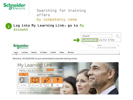 Searching for training offers by competency name Log into My Learning Link, go to My Account 1.