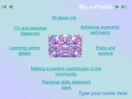 My e-Profile Type your name here All about me Learning centre details Enjoy and achieve Making a positive contribution to the community Achieving economic.