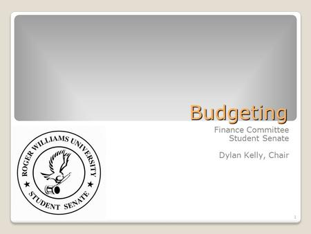 1 Budgeting Finance Committee Student Senate Dylan Kelly, Chair.