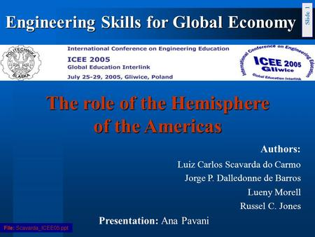 Slide 1 The role of the Hemisphere of the Americas Authors: Luiz Carlos Scavarda do Carmo Jorge P. Dalledonne de Barros Lueny Morell Russel C. Jones Presentation:
