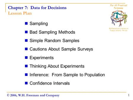 Chapter 7: Data for Decisions Lesson Plan Sampling Bad Sampling Methods Simple Random Samples Cautions About Sample Surveys Experiments Thinking About.