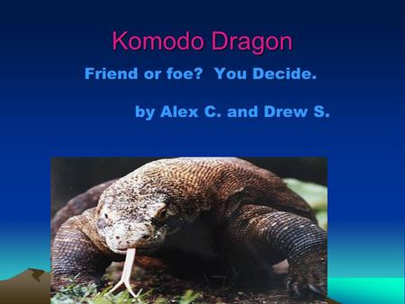 Komodo Dragon Friend or foe? You Decide. by Alex C. and Drew S.