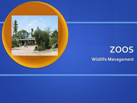 ZOOS Wildlife Management. Why do we have zoos? 1. Entertainment 1. Entertainment 2. Education 2. Education 3. Conservation 3. Conservation 4. Research.