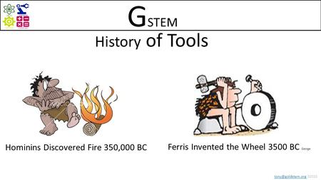 32015 History of Tools Ferris Invented the Wheel 3500 BC George Hominins Discovered Fire 350,000 BC G STEM.