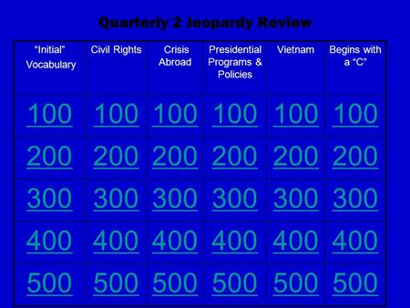 "Quarterly 2 Jeopardy Review ""Initial"" Vocabulary Civil Rights Crisis Abroad Presidential Programs & Policies VietnamBegins with a ""C"" 100 200 300 400 500."