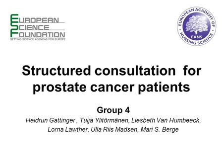 Structured consultation for prostate cancer patients