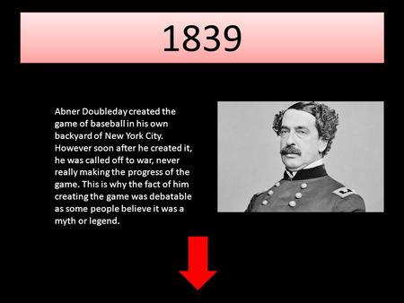 1839 Abner Doubleday created the game of baseball in his own backyard of New York City. However soon after he created it, he was called off to war, never.