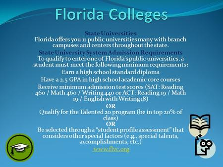 State Universities Florida offers you 11 public universities many with branch campuses and centers throughout the state. State University System Admission.