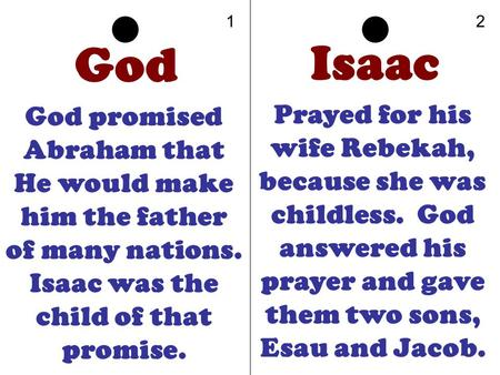 God God promised Abraham that He would make him the father of many nations. Isaac was the child of that promise. Isaac Prayed for his wife Rebekah, because.