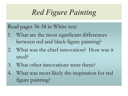 Red Figure Painting Read pages in White text