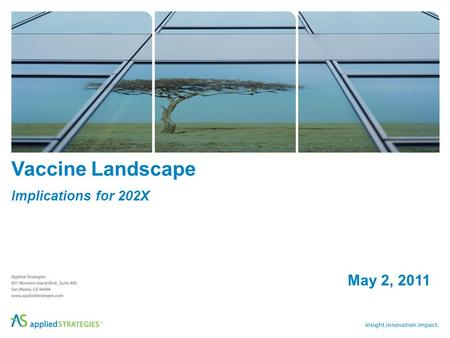 Vaccine Landscape Implications for 202X May 2, 2011.
