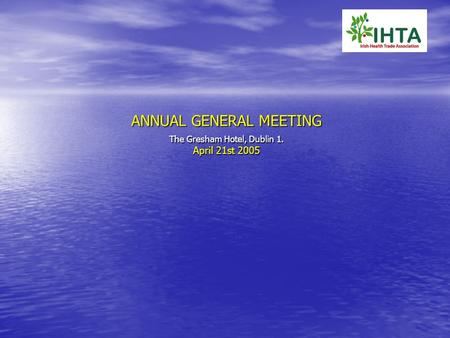 ANNUAL GENERAL MEETING The Gresham Hotel, Dublin 1. April 21st 2005.