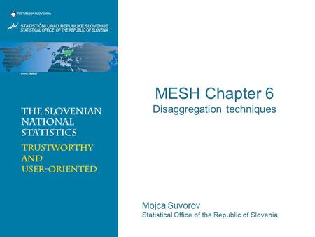 MESH Chapter 6 Disaggregation techniques Mojca Suvorov Statistical Office of the Republic of Slovenia.