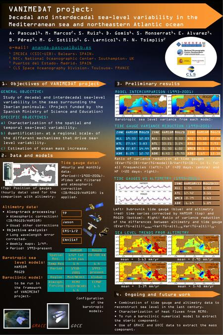 VANIMEDAT project : Decadal and interdecadal sea-level variability in the Mediterranean sea and northeastern Atlantic ocean A. Pascual 1, M. Marcos 2,