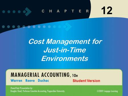 1-1 12-1 Click to edit Master title style Click to edit Master text styles –Second level Third level –Fourth level »Fifth level 10/19/20151 12 Cost Management.