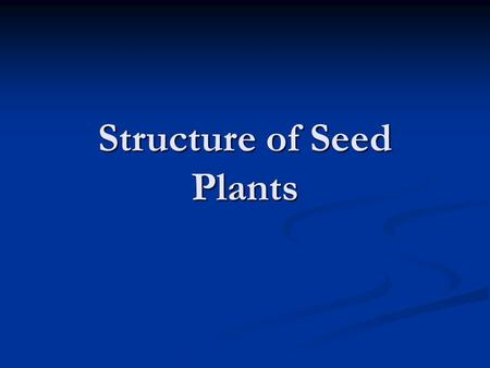 Structure of Seed Plants. Vascular Tissues What is a Vascular Tissue? What is a Vascular Tissue? Specialized tissues that conduct nutrients and water.