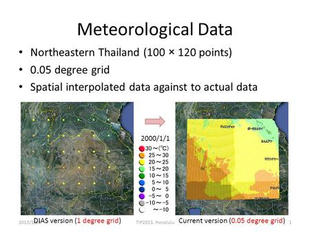 Meteorological Data Northeastern Thailand (100 × 120 points) 0.05 degree grid Spatial interpolated data against to actual data 2013/1/14TIP2013, Honolulu1.