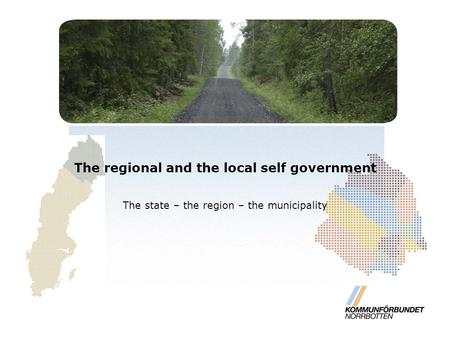 The regional and the local self government The state – the region – the municipality.
