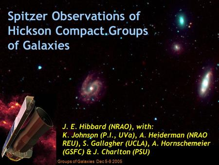 J. Hibbard ESO Workshop: Groups of Galaxies Dec 5-9 2005 J. E. Hibbard (NRAO), with: K. Johnson (P.I., UVa), A. Heiderman (NRAO REU), S. Gallagher (UCLA),
